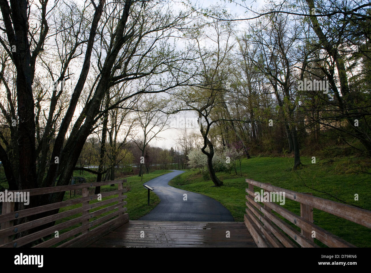 A view of the Reed Creek Greenway in Asheville in North Carolina - Stock Image