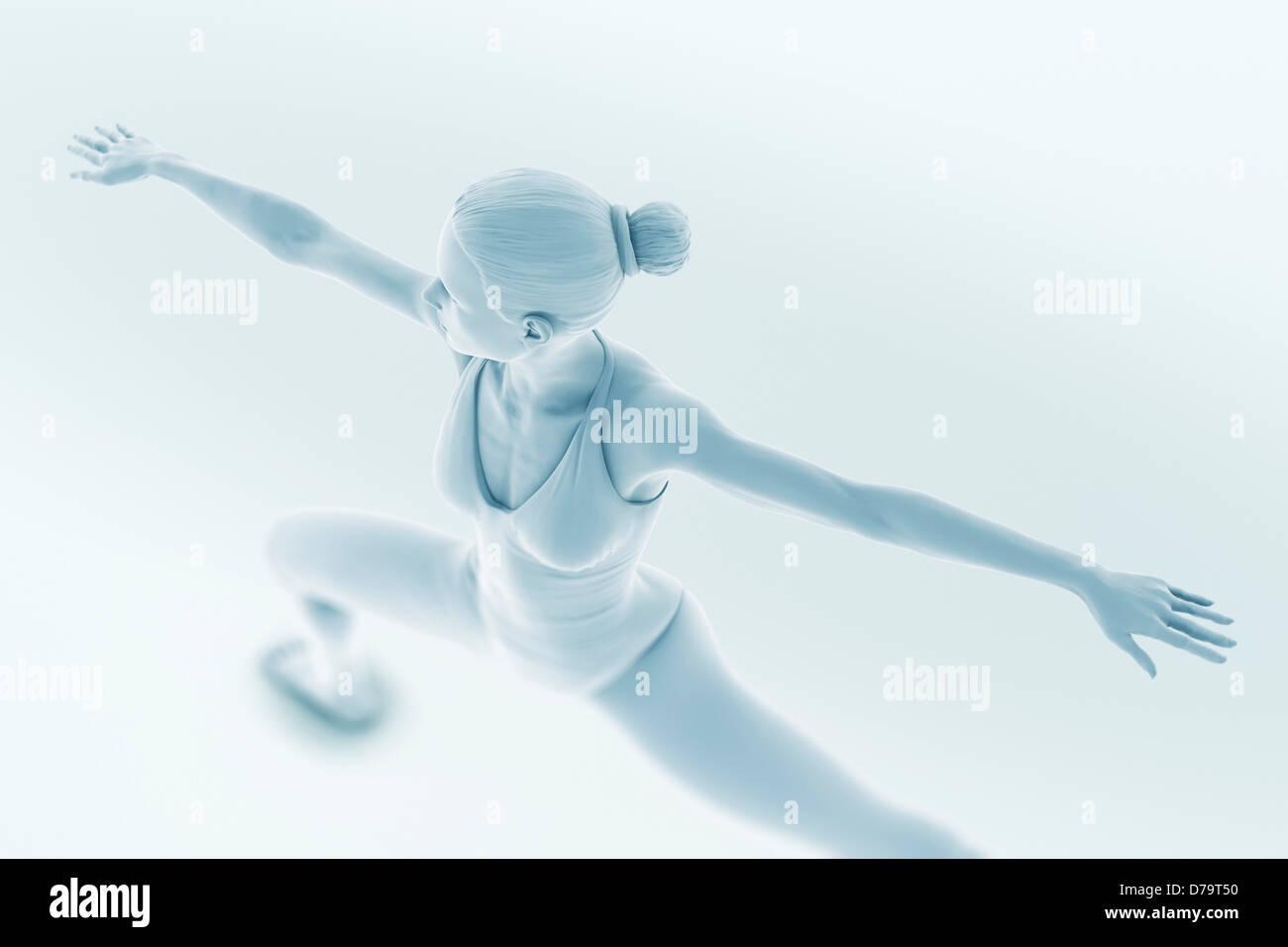 Yoga Warrior Pose - Stock Image