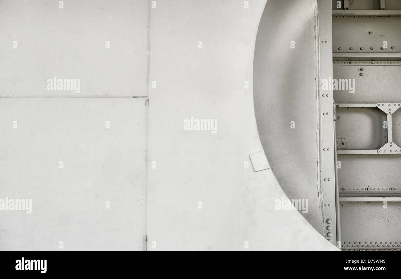 a aircraft fuselage detail image for use as a background for designers - Stock Image
