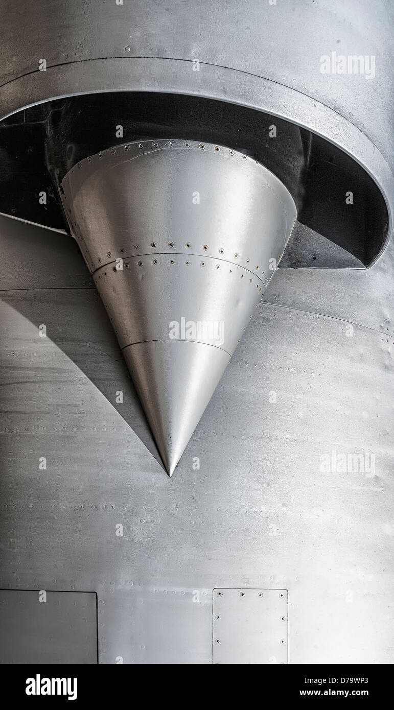 horizontal view of a jet fighter plane air intake - Stock Image