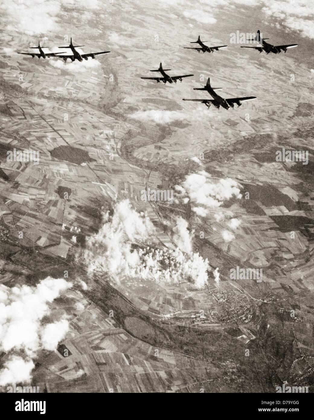 US B-17 Flying Fortresses Carpet Bombing Stock Photo