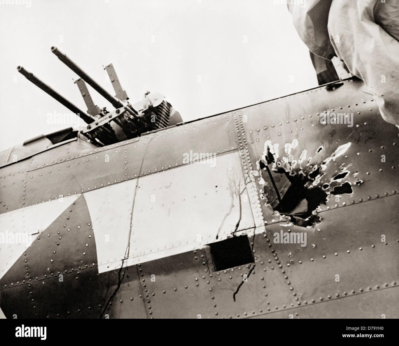 Anti-Aircraft Gun Damage to Fuselage - Stock Image