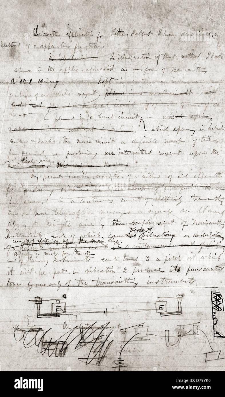 Design Sketch Description Invention by Alexander Graham Bell - Stock Image
