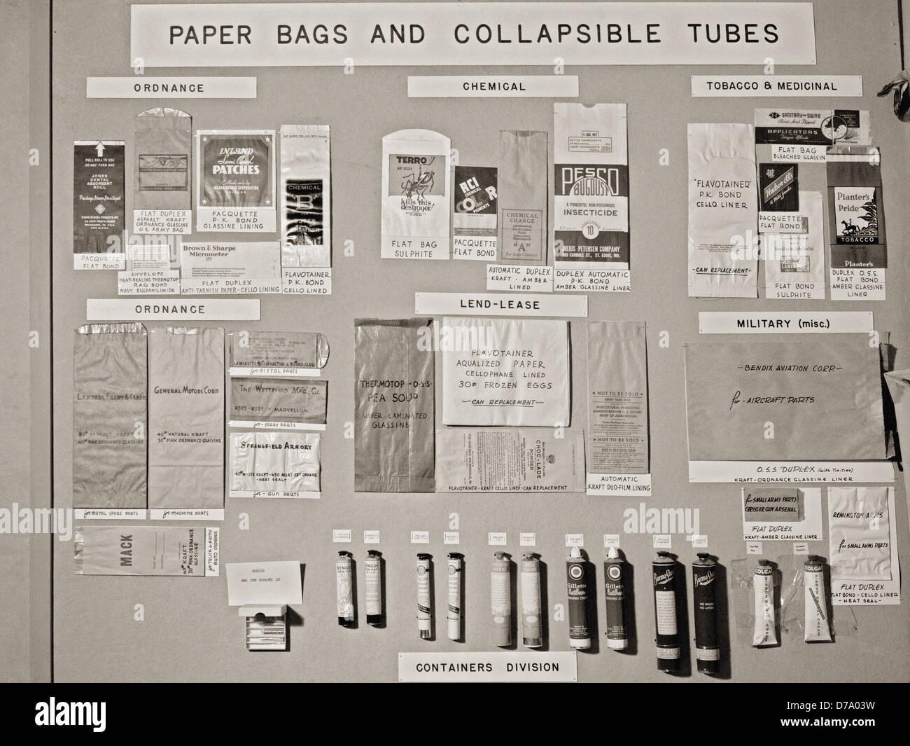 Pre-War Wartime Bags Tubes Display - Stock Image