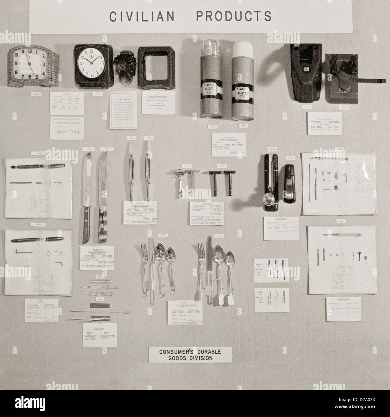Pre-War Wartime Civilian Products - Stock Image