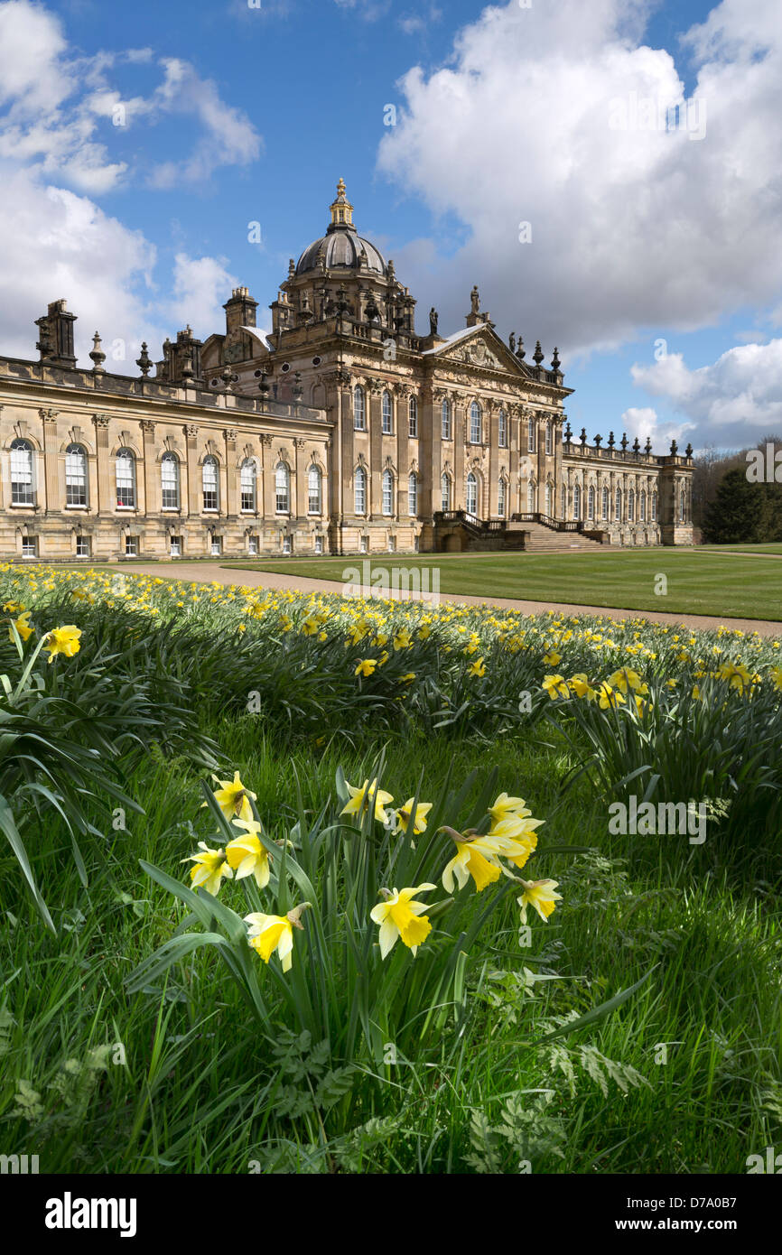 Castle Howard Stately Home and daffodils in spring. - Stock Image