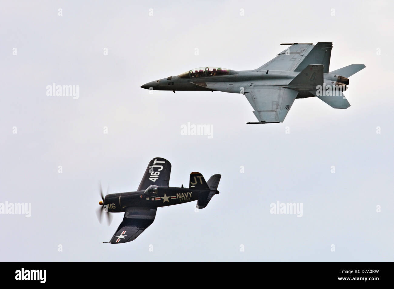 FA-18 F4U Corsair Perform During Air Show - Stock Image