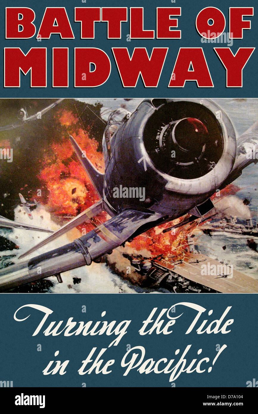 Commemorative Poster Battle Midway - Stock Image