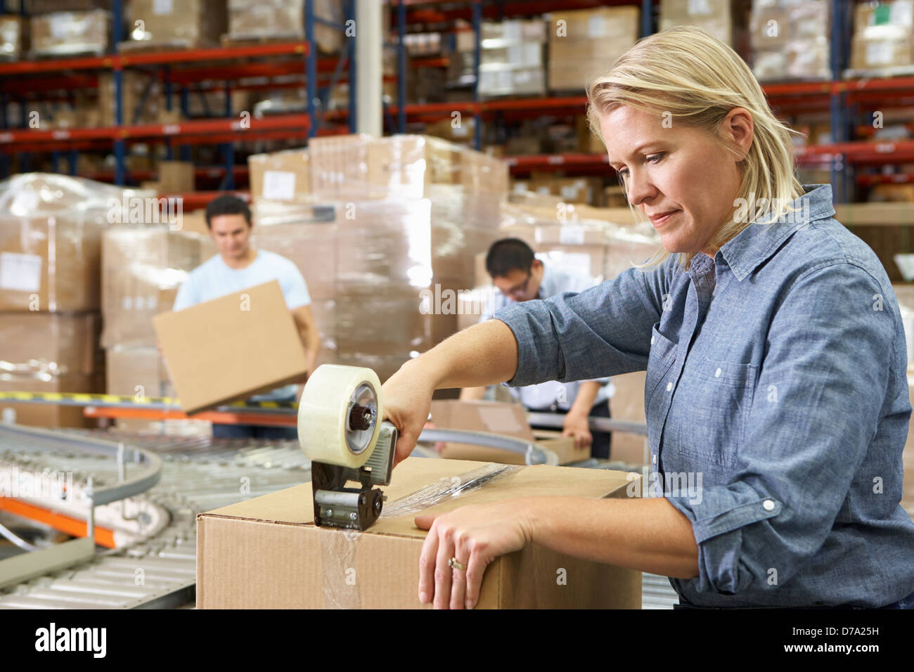 Workers In Distribution Warehouse - Stock Image