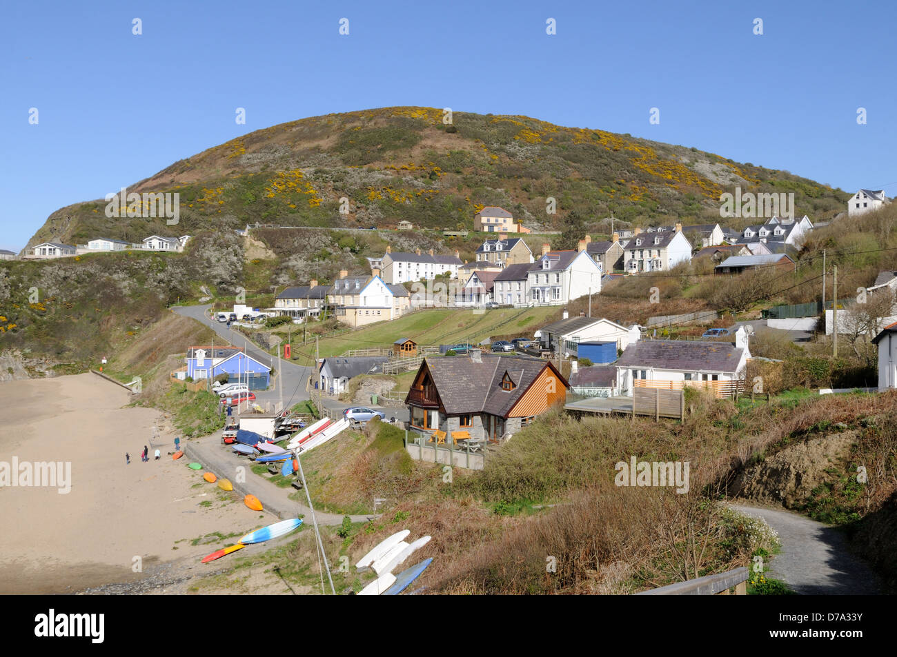 Tresaith village and beach Cardigan Bay Ceredigion Wales Cymru uK GB - Stock Image