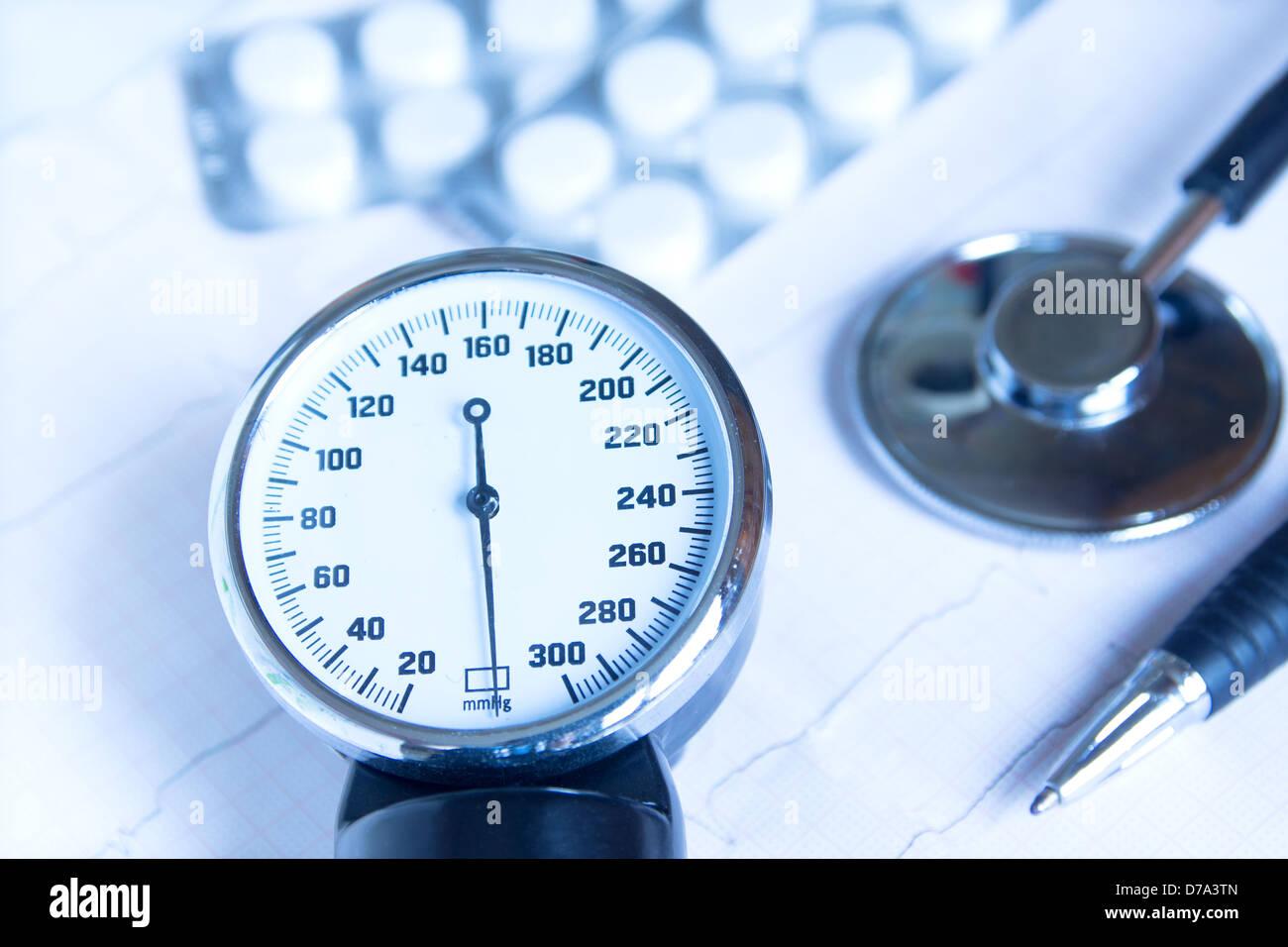 medical stethoscope medicine heartbeat - Stock Image