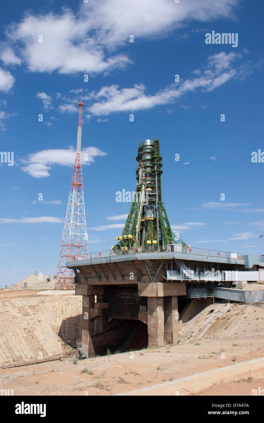 Soyuz rocket on launch pad at Baikonur Cosmodrome Kazakhstan - Stock Image