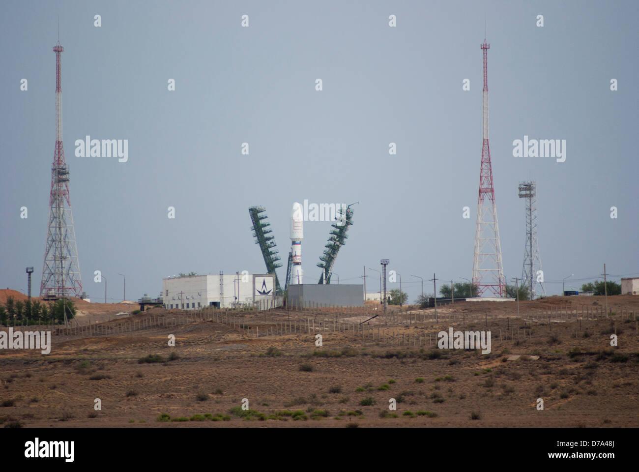 Soyuz rocket on launch pad Baikonur Cosmodrome Kazakhstan - Stock Image