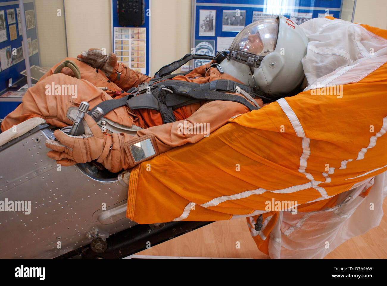 Vostok Space Suit type worn by Yuri Gagarin posed in ejection seat in museum Baikonur Space Museum Baikonur Cosmodrome - Stock Image