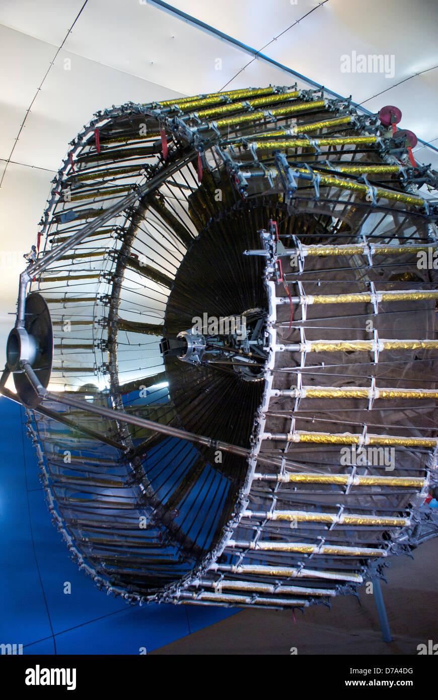 Satellite antenna display museum Periphery antenna deployable to increase collecting area therefore gain Baikonur - Stock Image