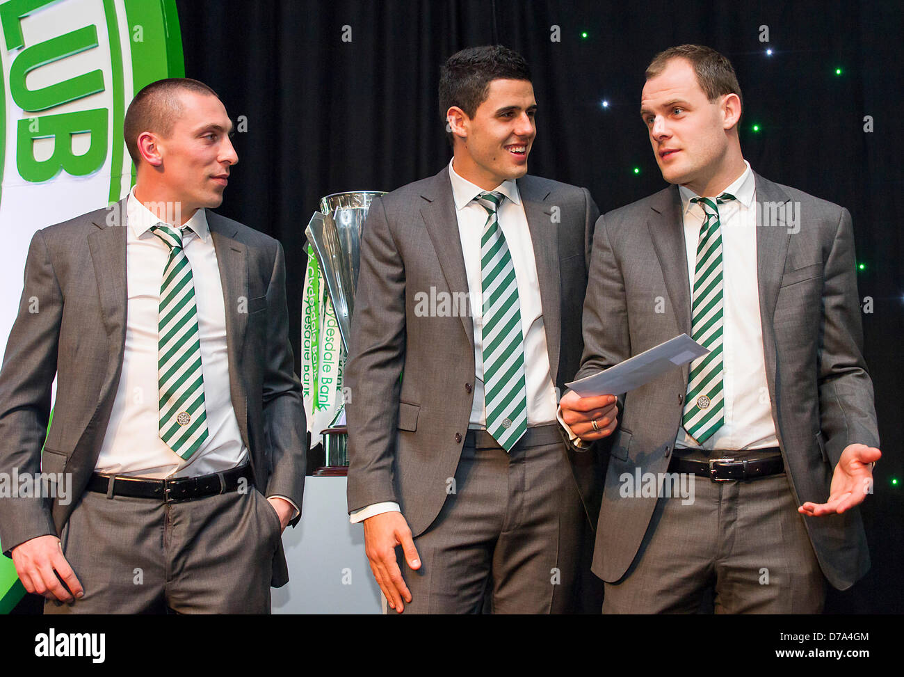 29.04.2013 Glasgow, Scotland. Scott Brown, Tom Rogic and Anthony Stokes on stage during the Celtic Football Club - Stock Image