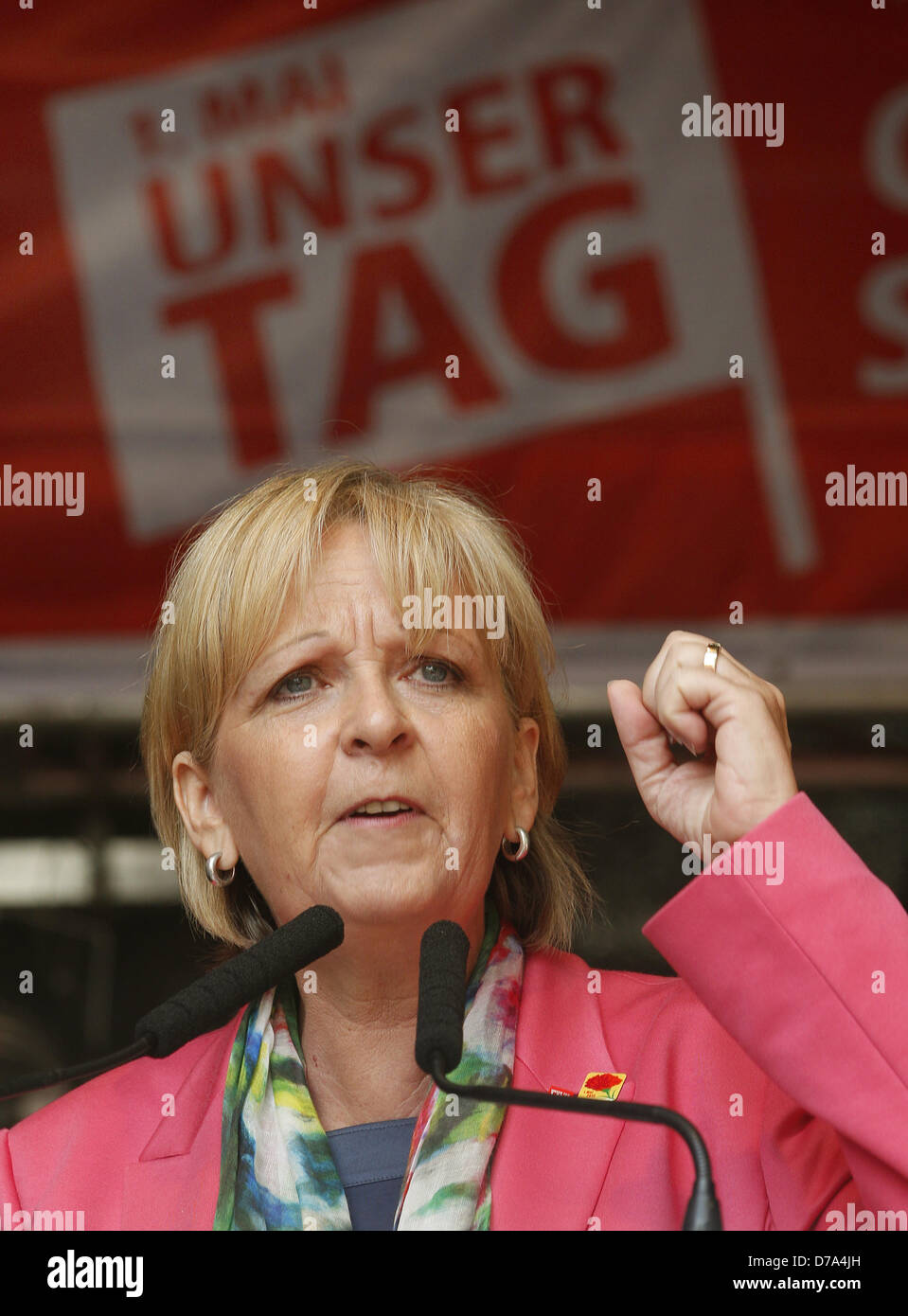 North Rhine-Westphalia's Premier Hannelore Kraft speaks at a May Day rally by the Confederation of German Trade - Stock Image