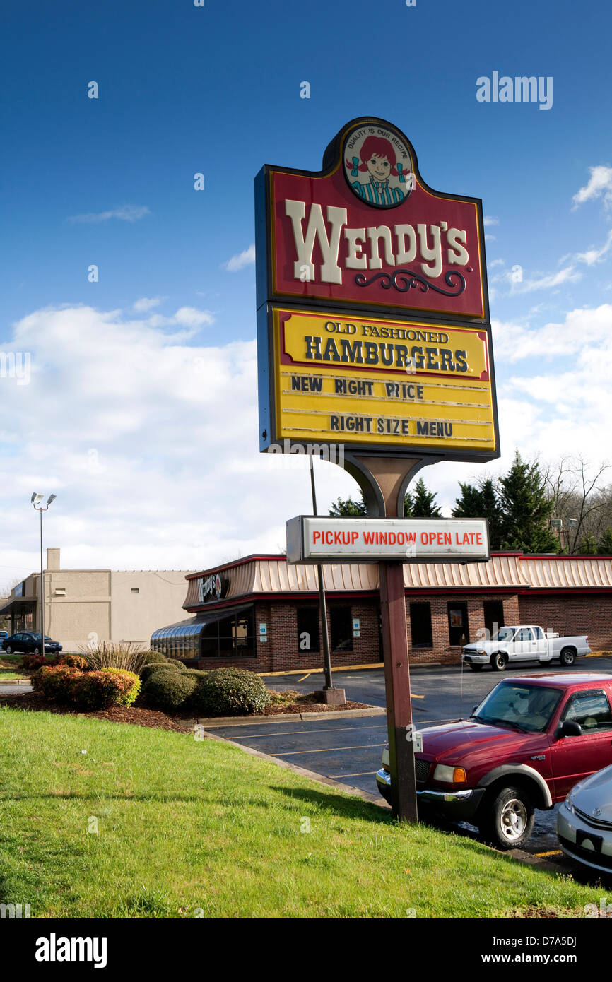 A view of a Wendy's restaurant in Asheville, North Carolina - Stock Image