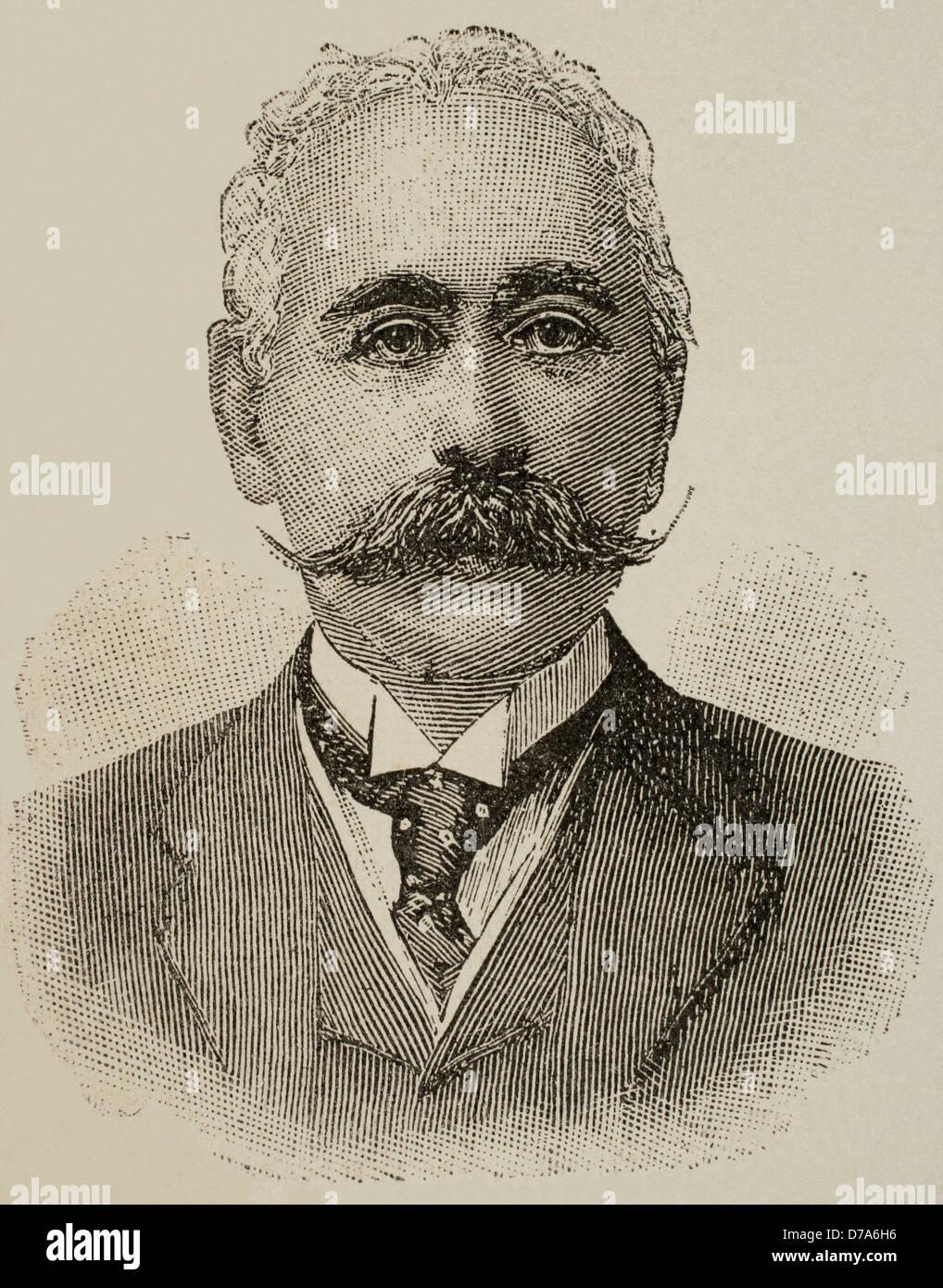 Maurice de Hirsch (1831-1896). Was a German-Jewish philanthropist. Portrait. engraving. - Stock Image