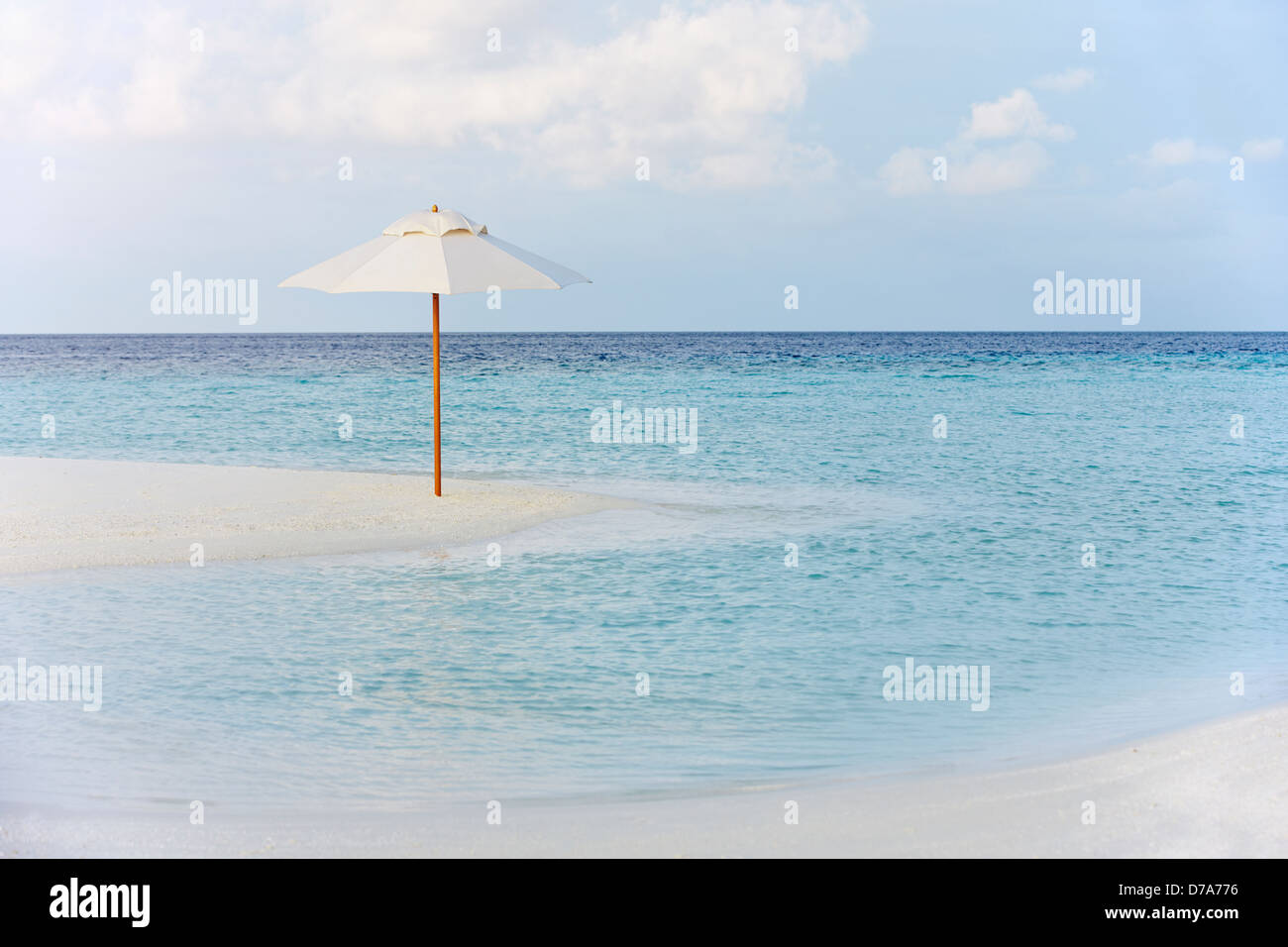 Beautiful Deserted Beach With Parasol - Stock Image