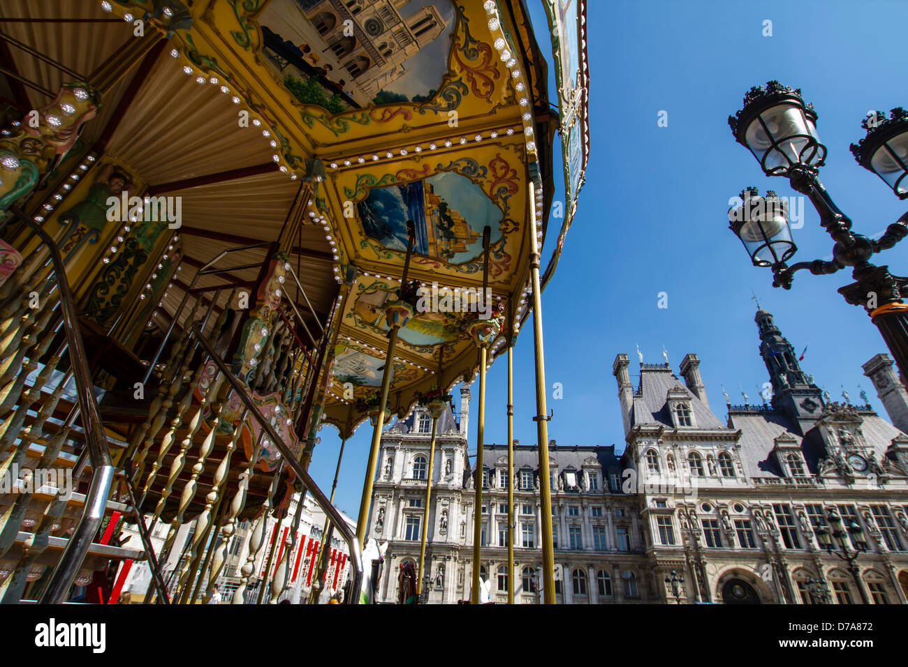 Carousel near the city hall in Paris, France - Stock Image