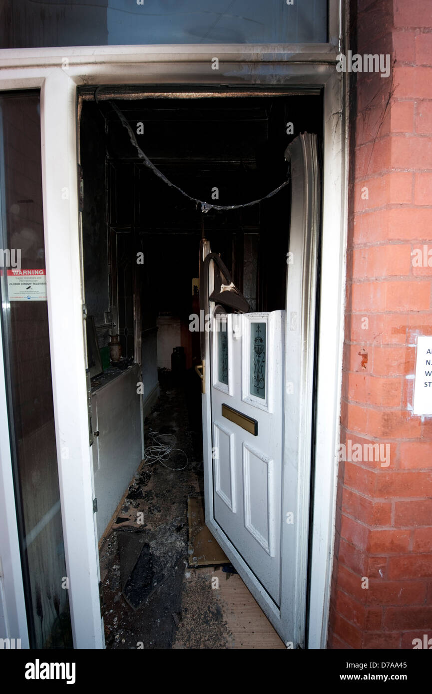 Severe House Fire Front Door Upvc Burnt Melted Stock Photo 56161173