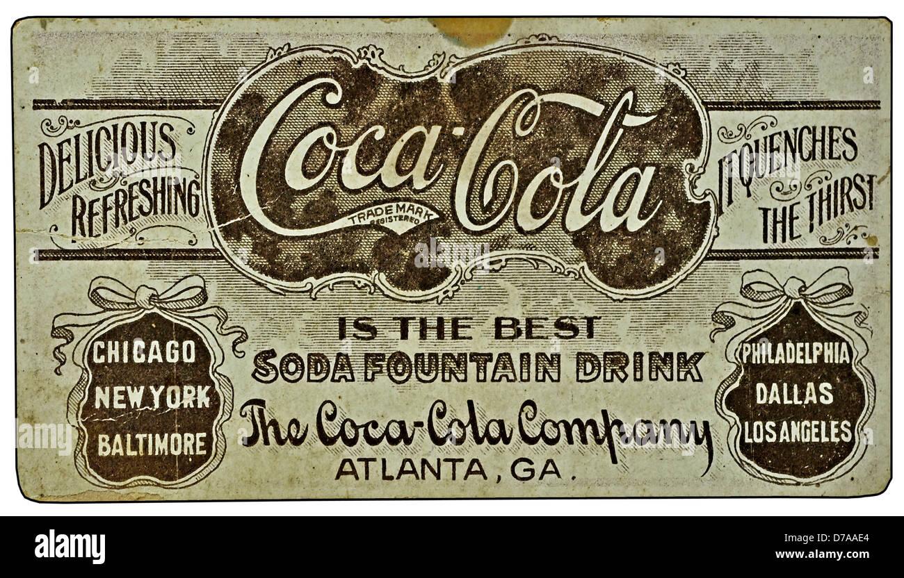 Vintage Coca-Cola ad on a card. - Stock Image