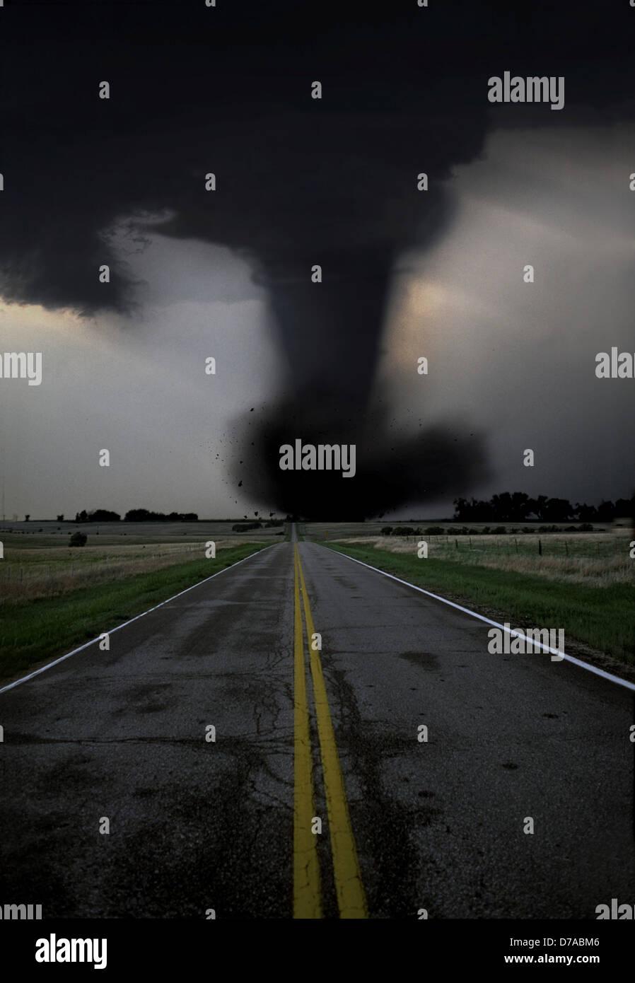 violent ef5 tornado crossing highway in texas illustration stock