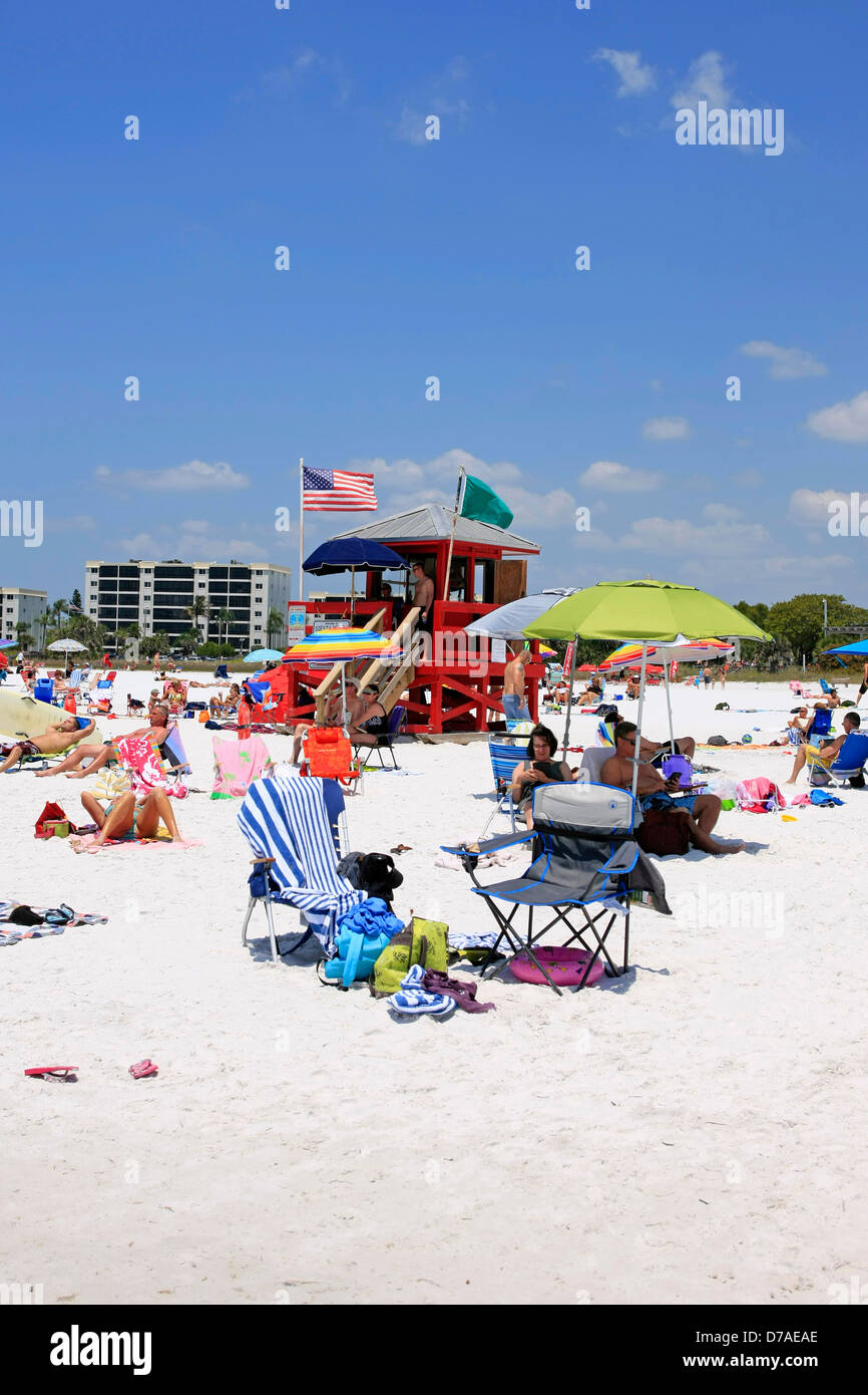 Red Lifeguard tower on Siesta Key public beach in Florida Stock Photo