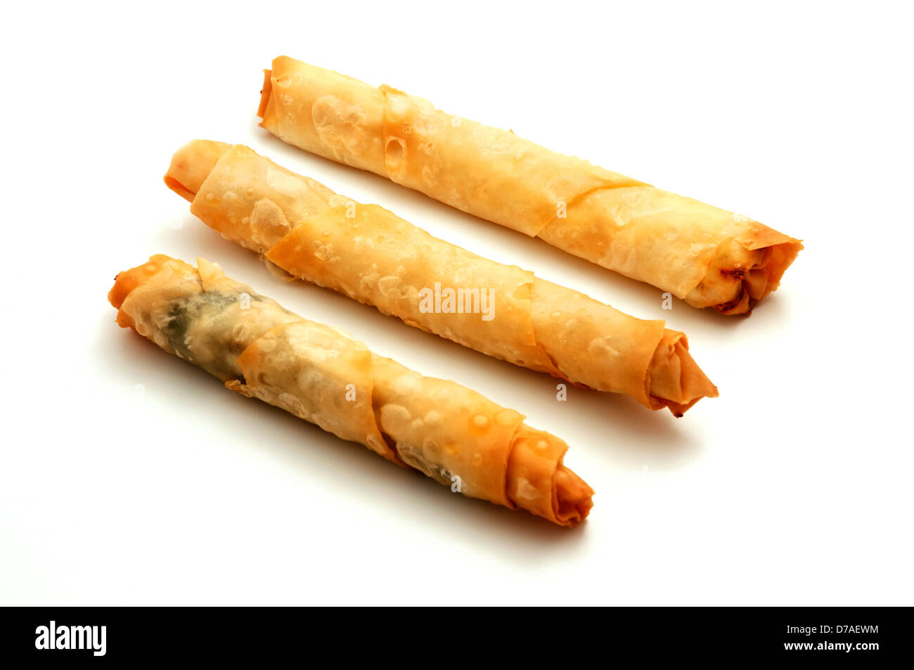 Sigara böreği (cigarette börek) on a white background Stock Photo