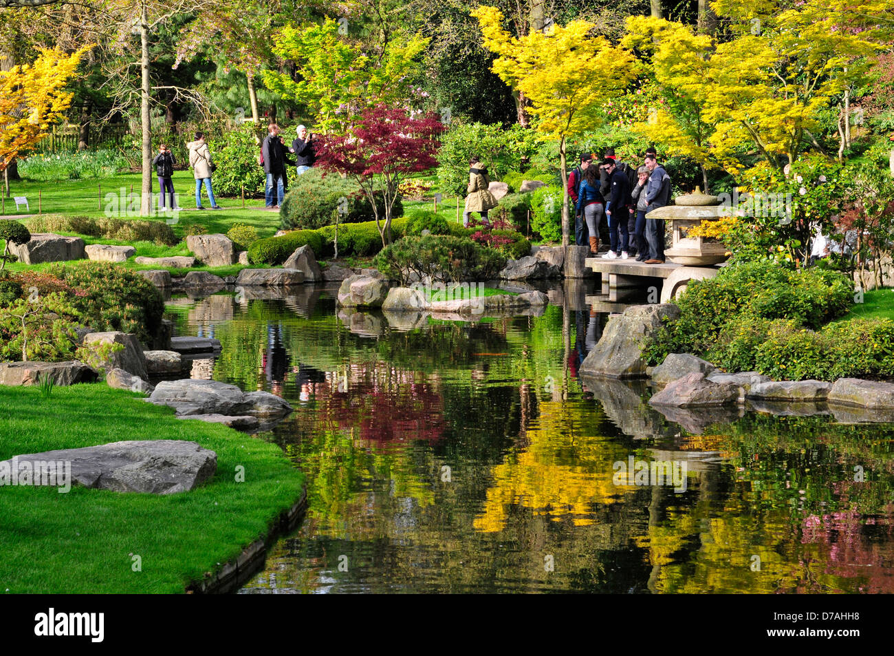 A View Of The Pond In Japanese Garden Holland Park London UK