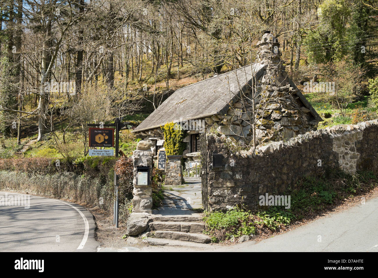 Ty Hyll or Ugly House Tearoom in old Welsh cottage in Snowdonia on A5 road between Capel Curig and Betws-y-Coed, - Stock Image