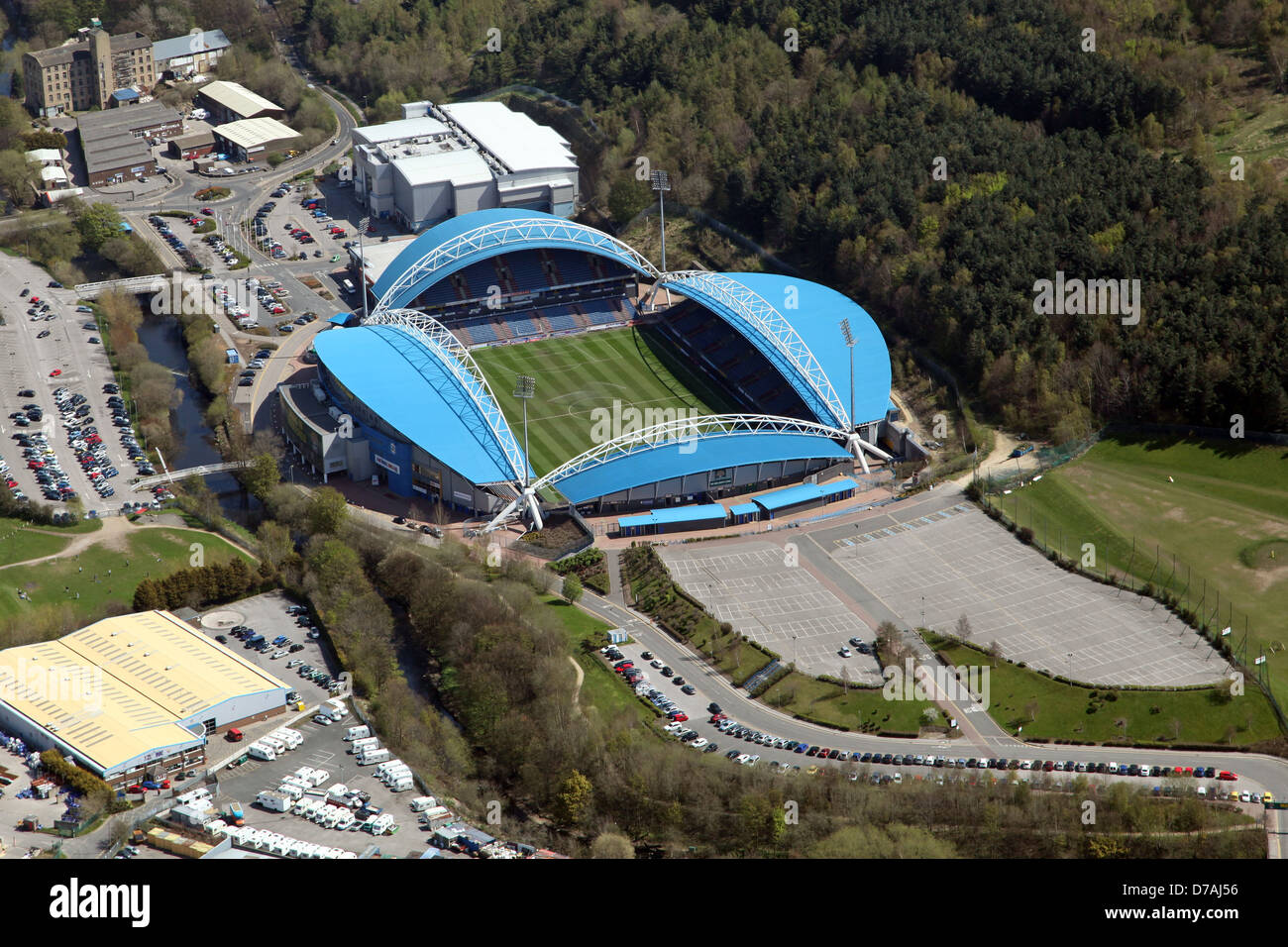 aerial view of the John Smith's Stadium formerly the Galpharm Stadium in Huddersfield - Stock Image