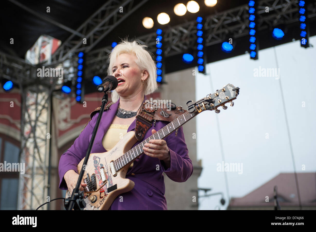 Guitarist Jennifer Batten performing at the Thanks Jimi Festival in Wroclaw, Poland. Stock Photo