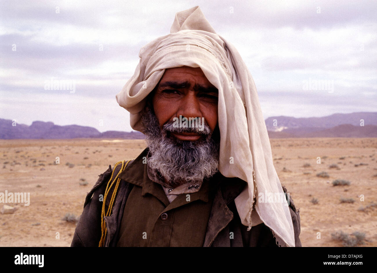 Bedouin nomad member of the Zawaideh tribe, native to the deserts of southern Jordan and western Saudi Arabia in - Stock Image