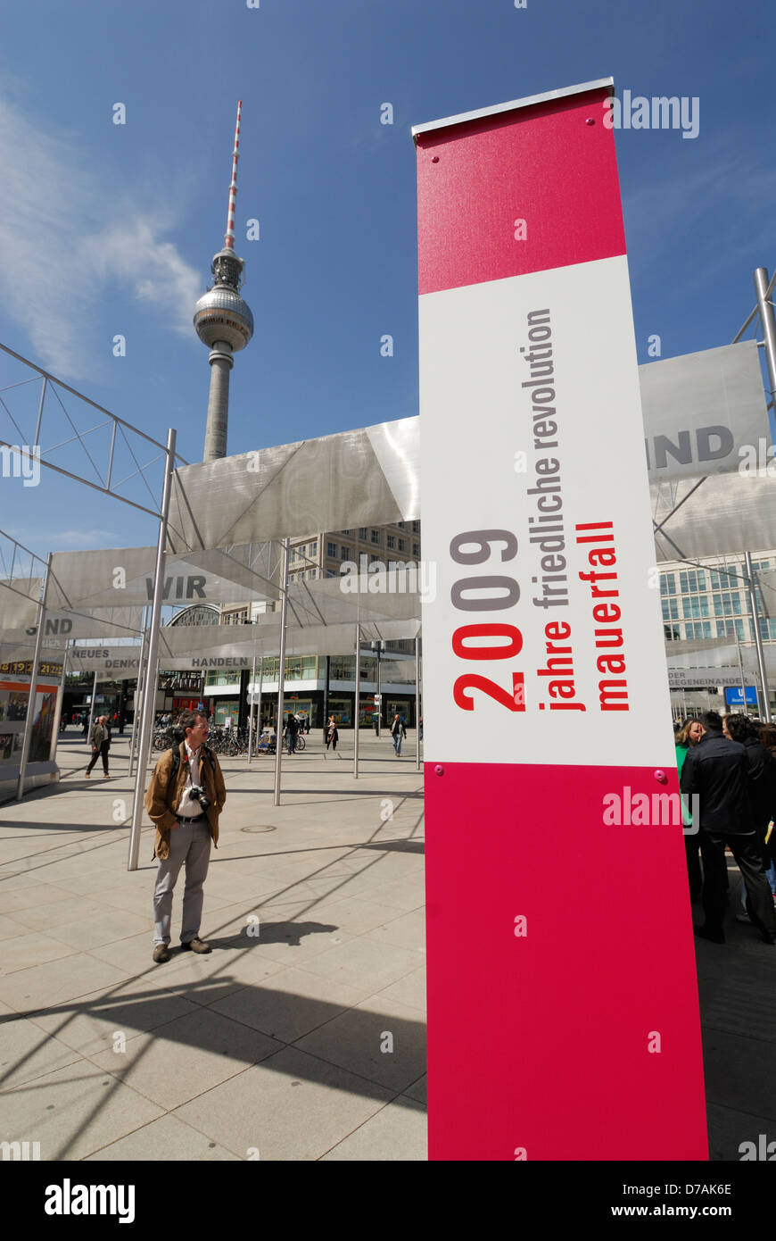 Exhibition on Alexanderplatz commemorating 20 years since the fall of the Berlin wall, Berlin Germany. Stock Photo