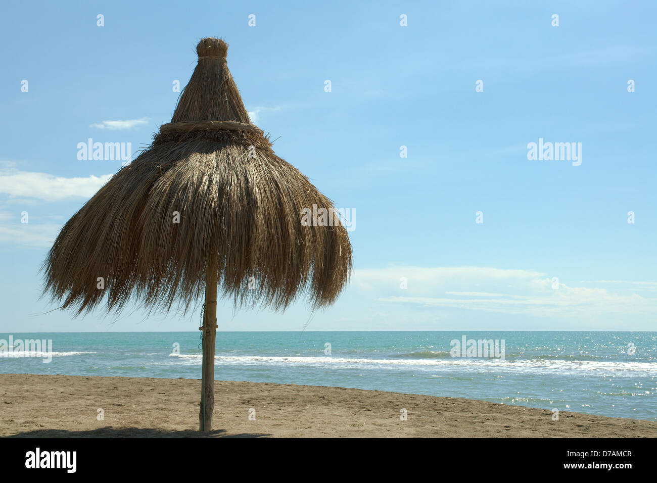 parasol on the beach of ostia rome italy Stock Photo