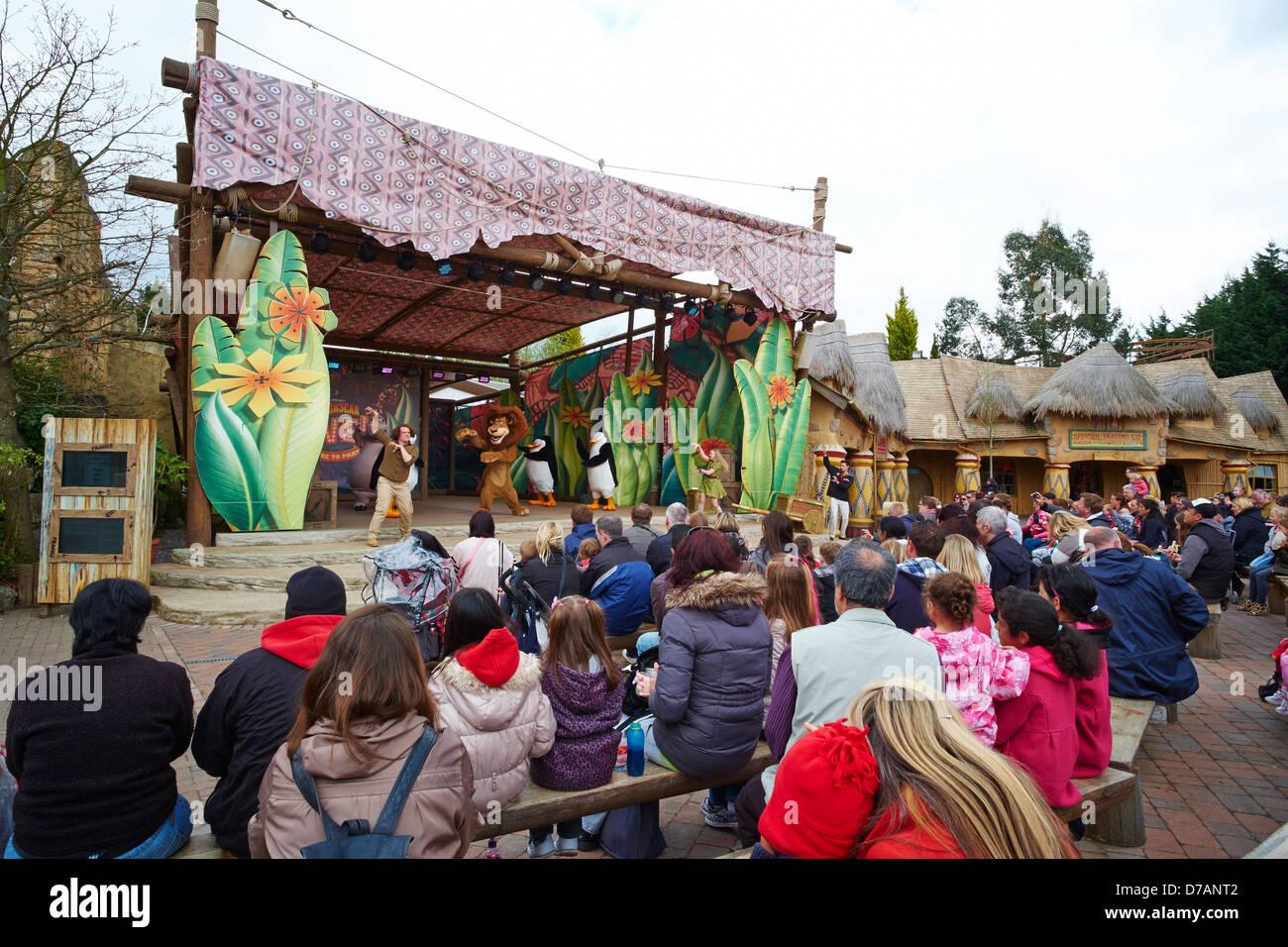 Madagascar live show at Chessington World of Adventures Surrey UK - Stock Image
