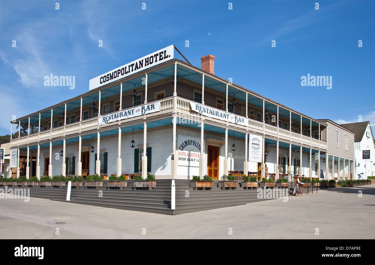 Cosmopolitan Hotel, a full service hotel restored from an 1869 expansion of an 1829 family home in Spanish Colonial - Stock Image