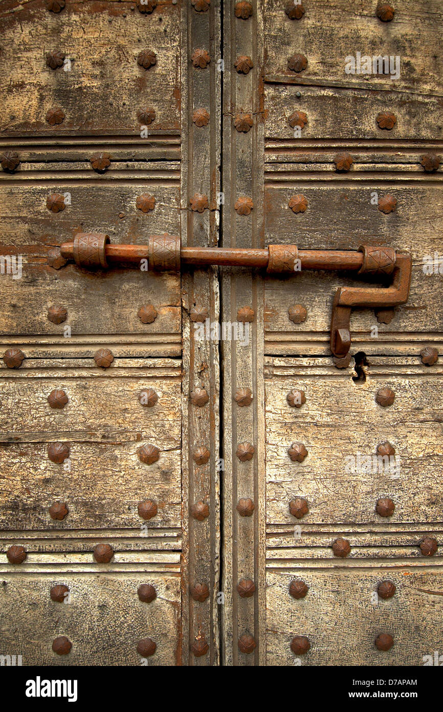 Medieval door bolt locked door & Medieval door bolt locked door Stock Photo: 56170764 - Alamy