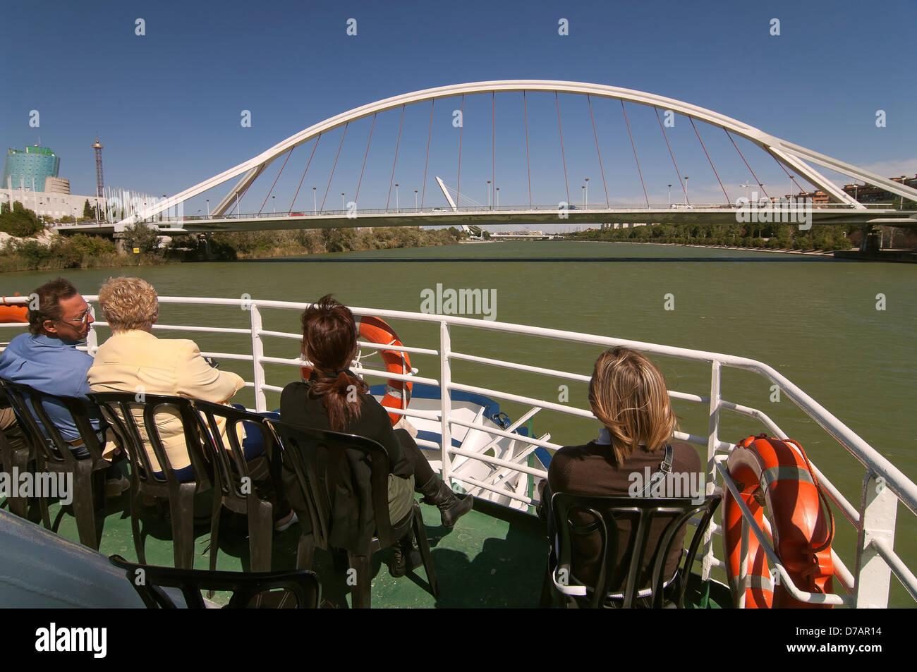 Barqueta bridge, Alamillo bridge and Guadalquivir river cruise, Seville, Region of Andalusia, Spain, Europe Stock Photo