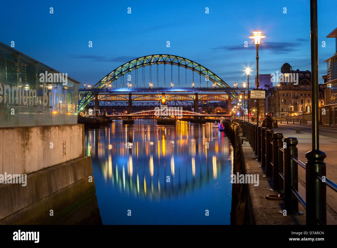 he Tyne Bridge is a through arch bridge over the River Tyne in North East England, linking Newcastle upon Tyne and Stock Photo