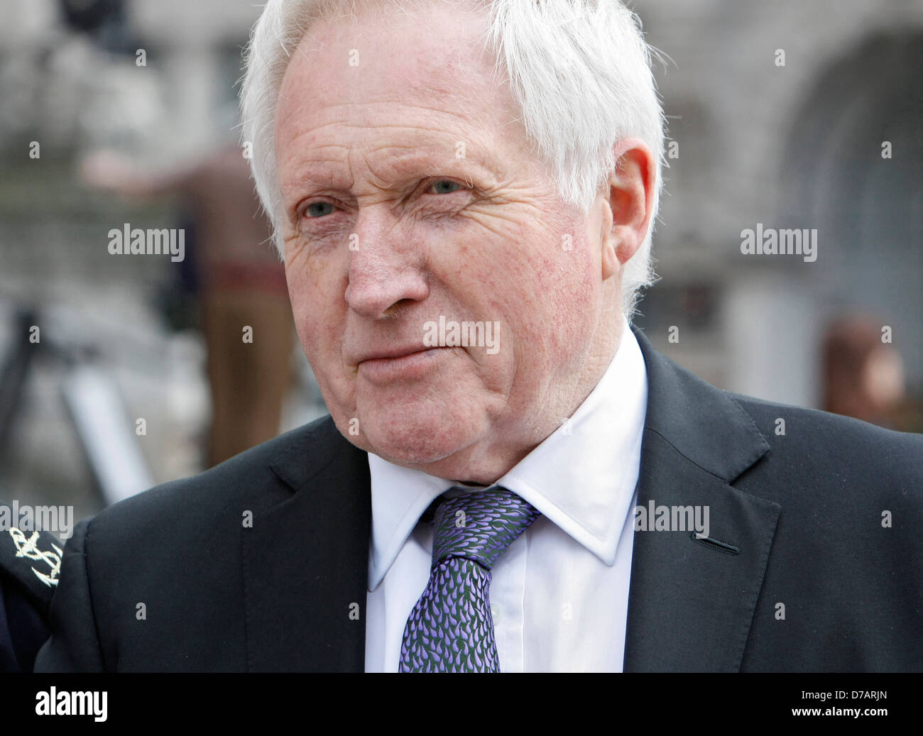 jounalist and broadcaster david dimbleby meets member of the armed services the day before margaret thatcher funeral - Stock Image
