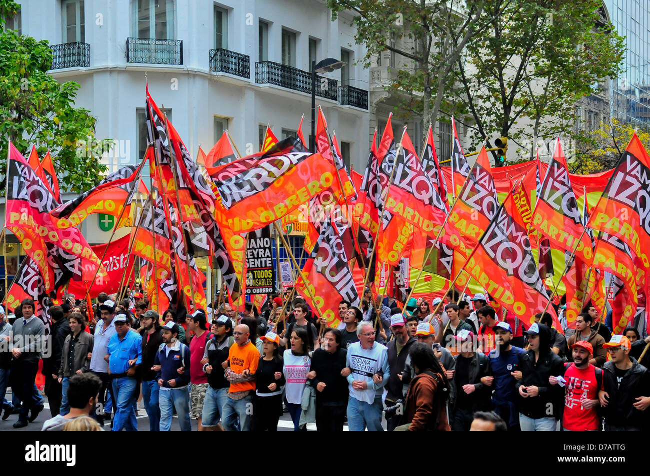 in Argentina labor party members march to Plaza de Mayo commemorates the day of workers Stock Photo