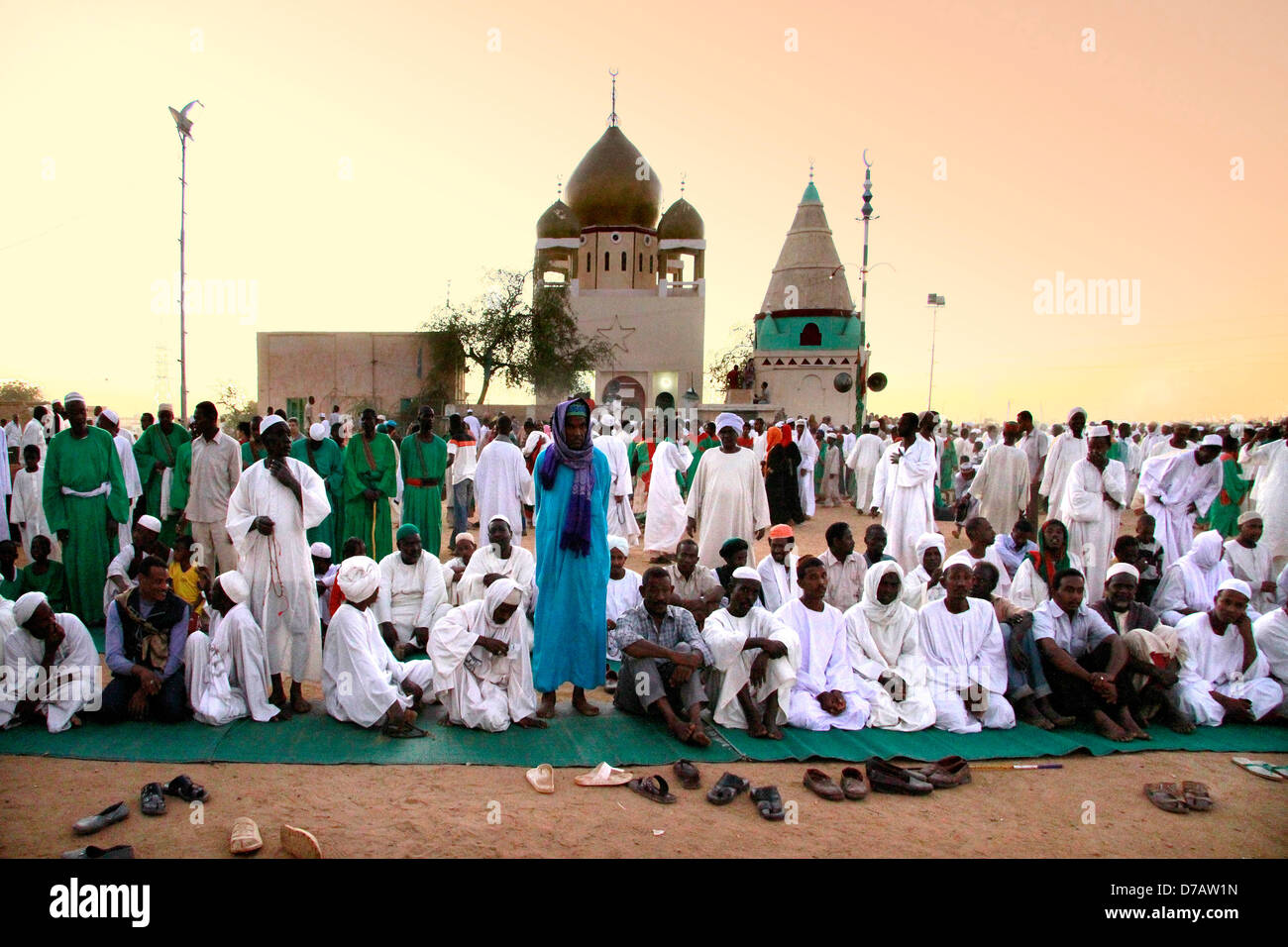 Africa Sudan Khartoum Dervishes behind the mosque at dusk - Stock Image