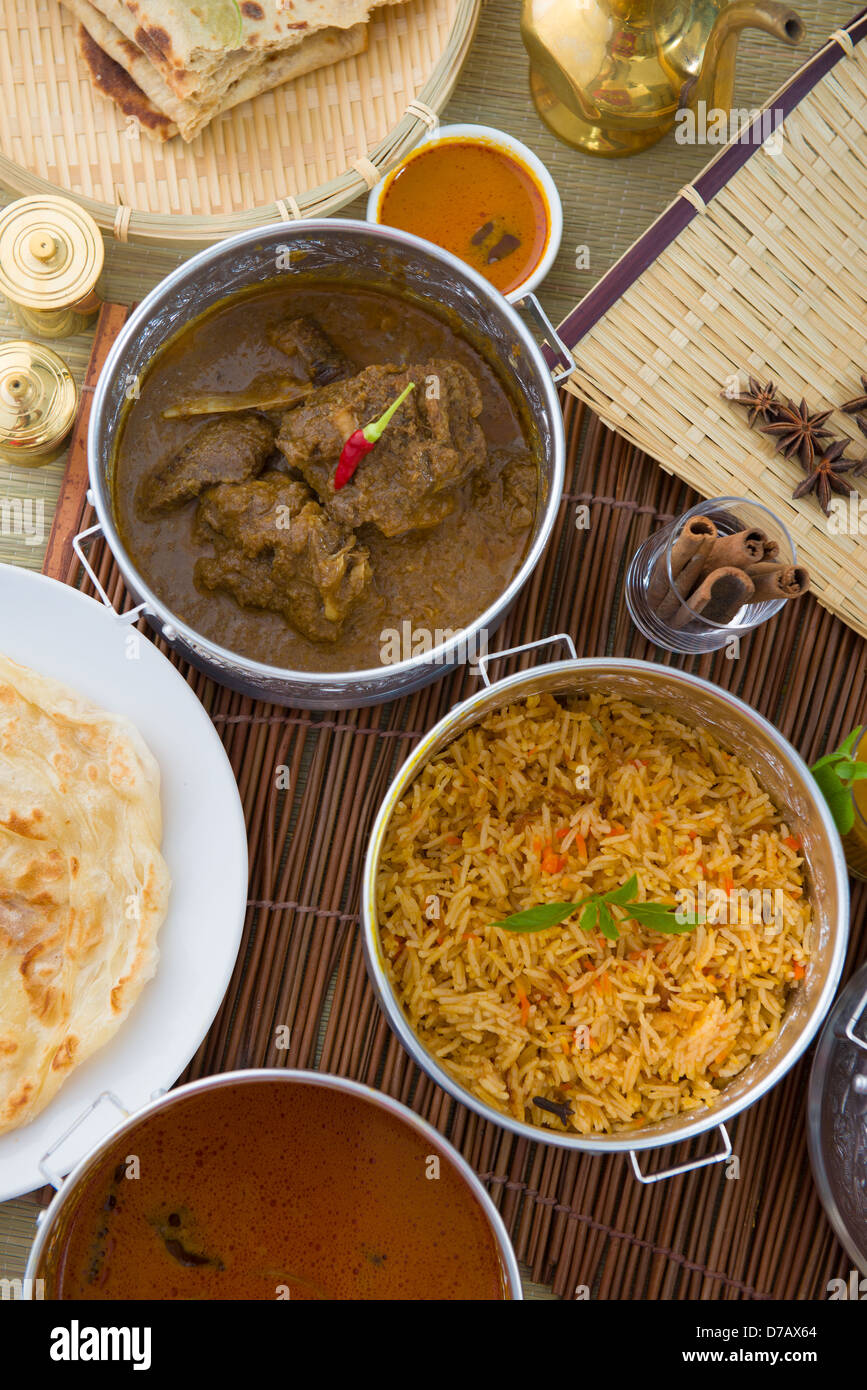 Biryani mutton rice with traditional background - Stock Image