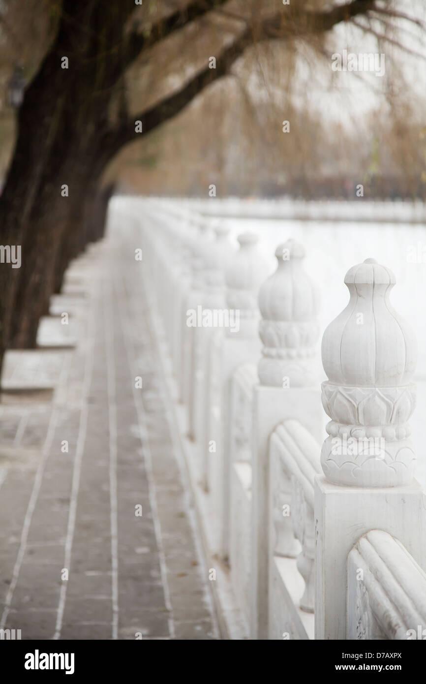 Alabaster Fence Bordering Houhai Park;Shichahai Beijing China - Stock Image