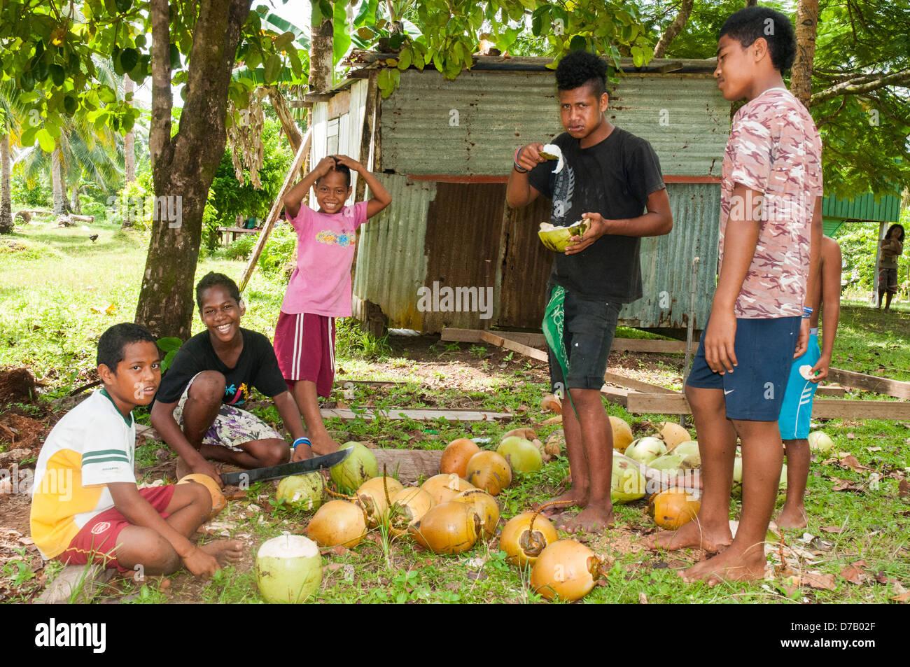 Polynesian children preparing coconuts for visitors to Lavangu village on Rennell Island, Solomon Islands - Stock Image