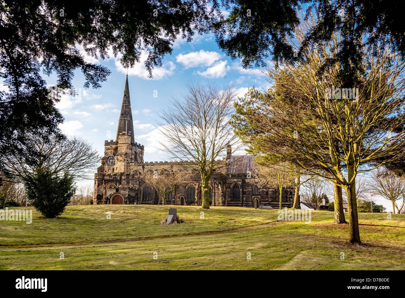 St Oswald's parish church at Winwick. - Stock Image