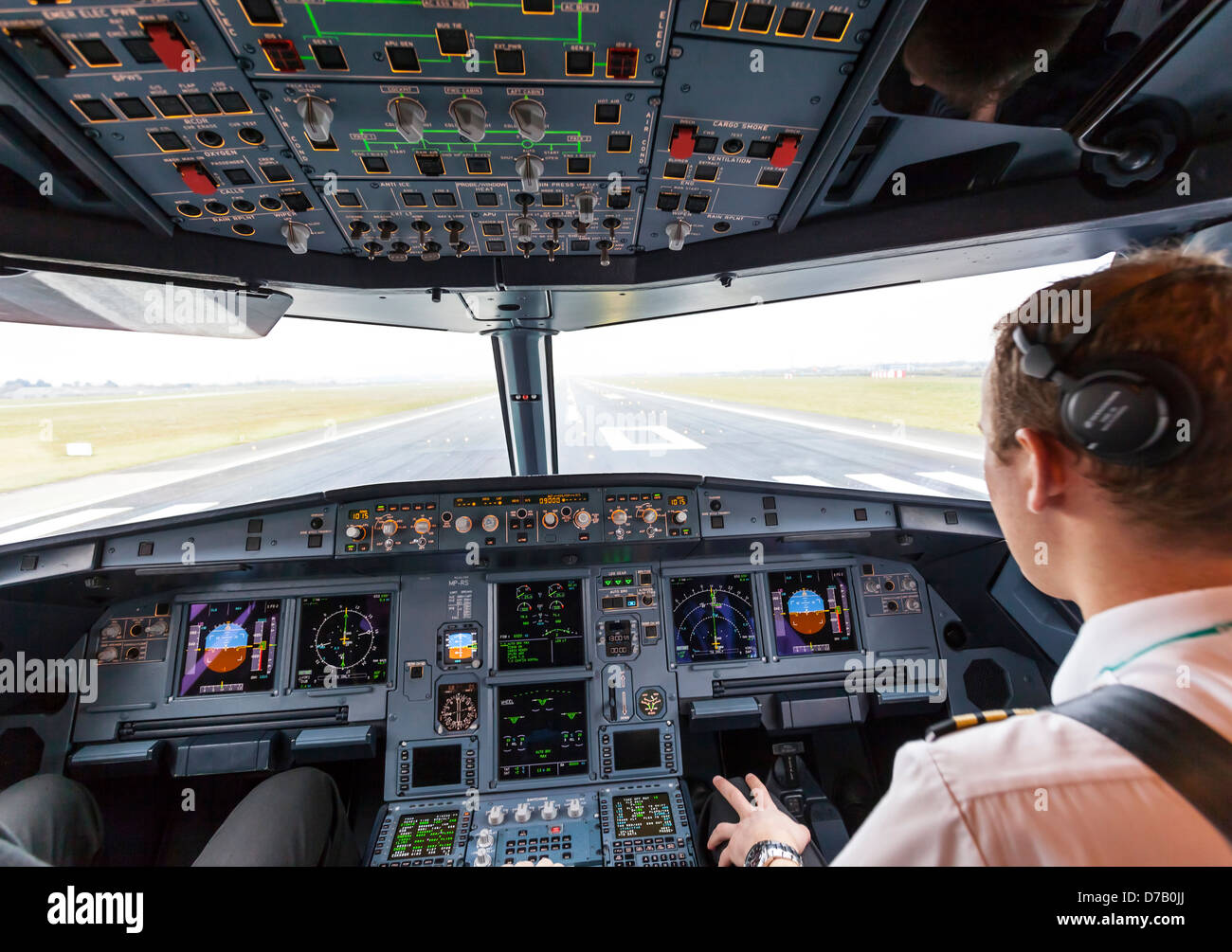 View from cockpit on Airbus 320 taking off from Dublin Airport - Stock Image